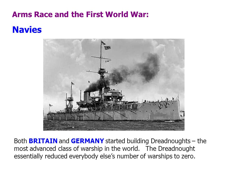 Navies Arms Race and the First World War: