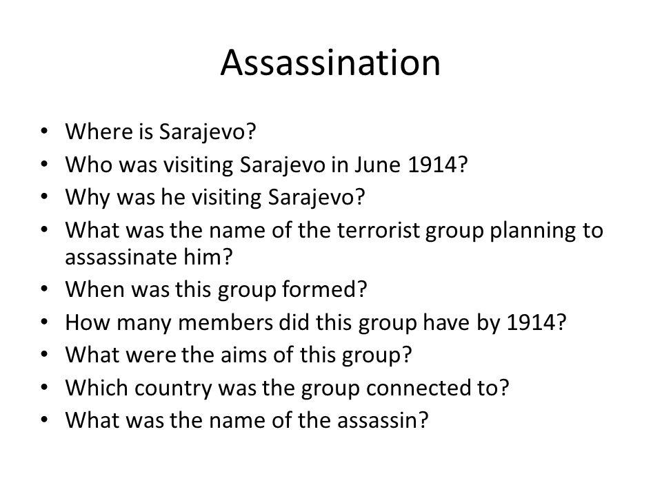 Assassination Where is Sarajevo