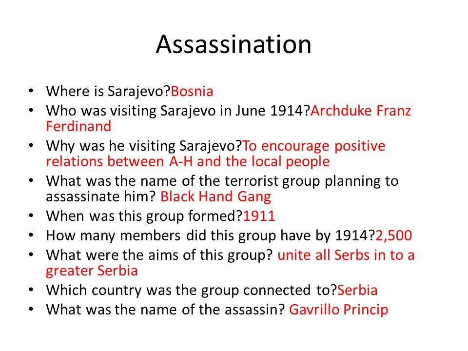 Assassination Where is Sarajevo Bosnia