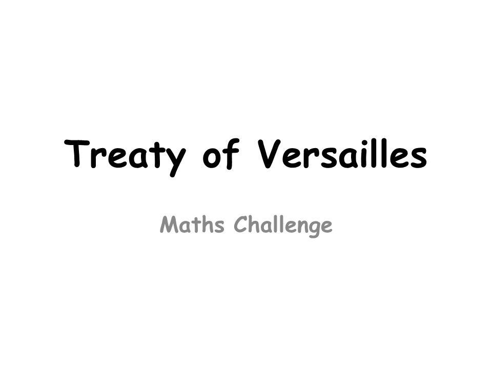 Treaty of Versailles Maths Challenge