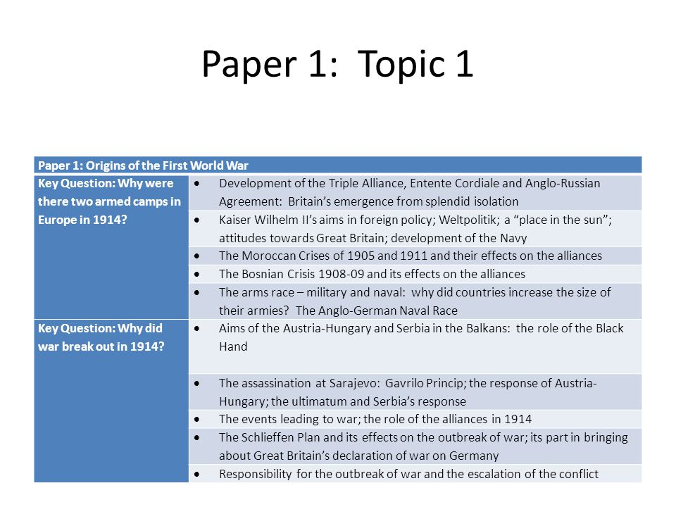 Paper 1: Topic 1 Paper 1: Origins of the First World War
