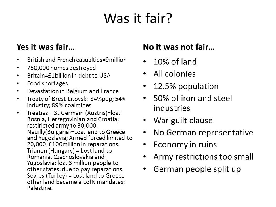 Was it fair Yes it was fair… No it was not fair… 10% of land