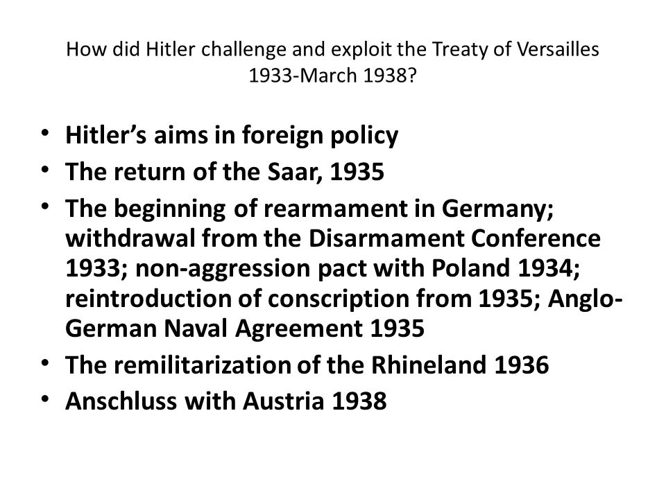 Hitler's aims in foreign policy The return of the Saar, 1935