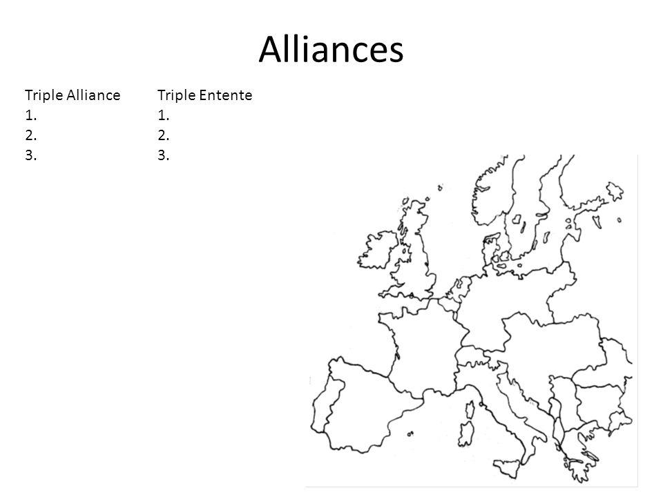 Alliances Triple Alliance Triple Entente 1. 1. 2. 2. 3. 3.