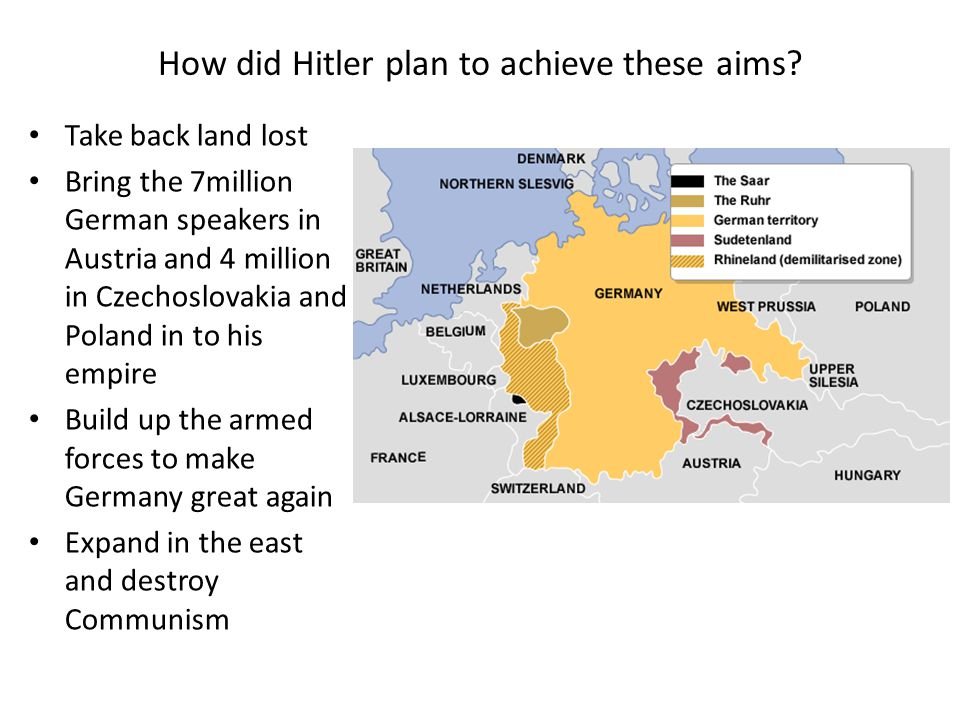 How did Hitler plan to achieve these aims