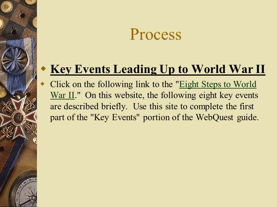 Process Key Events Leading Up to World War II