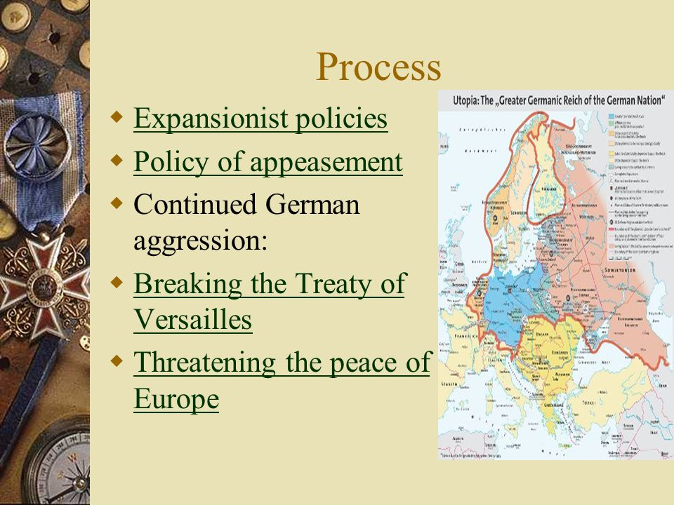 Process Expansionist policies Policy of appeasement