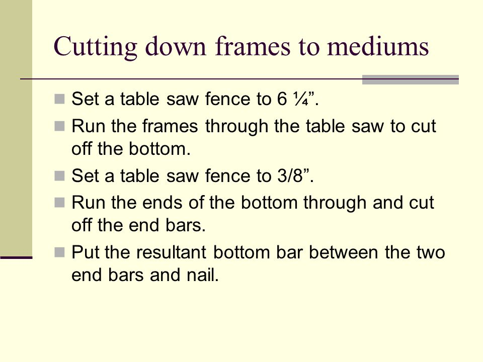 Cutting down frames to mediums