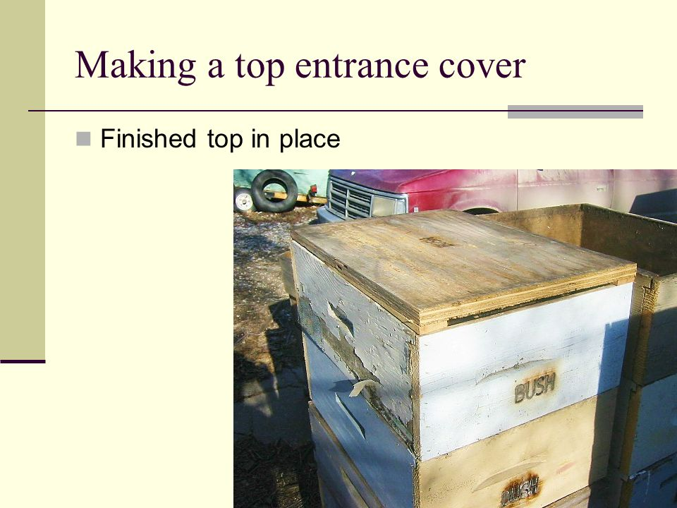 Making a top entrance cover