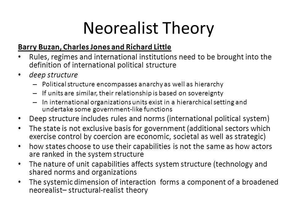 Neorealist Theory Barry Buzan, Charles Jones and Richard Little