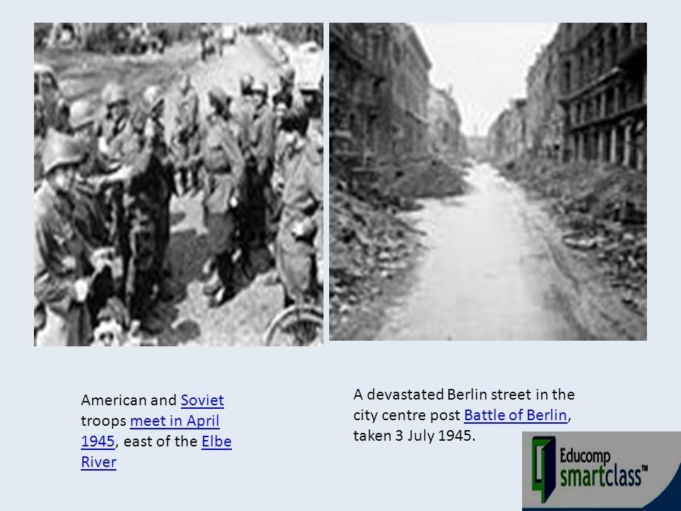A devastated Berlin street in the city centre post Battle of Berlin, taken 3 July 1945.