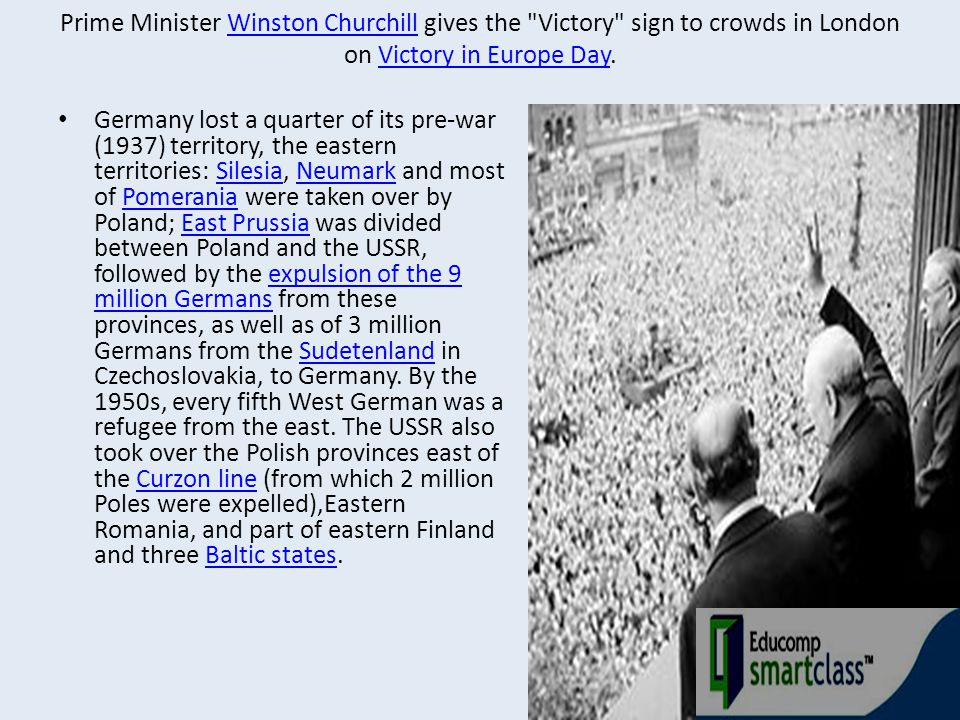 Prime Minister Winston Churchill gives the Victory sign to crowds in London on Victory in Europe Day.