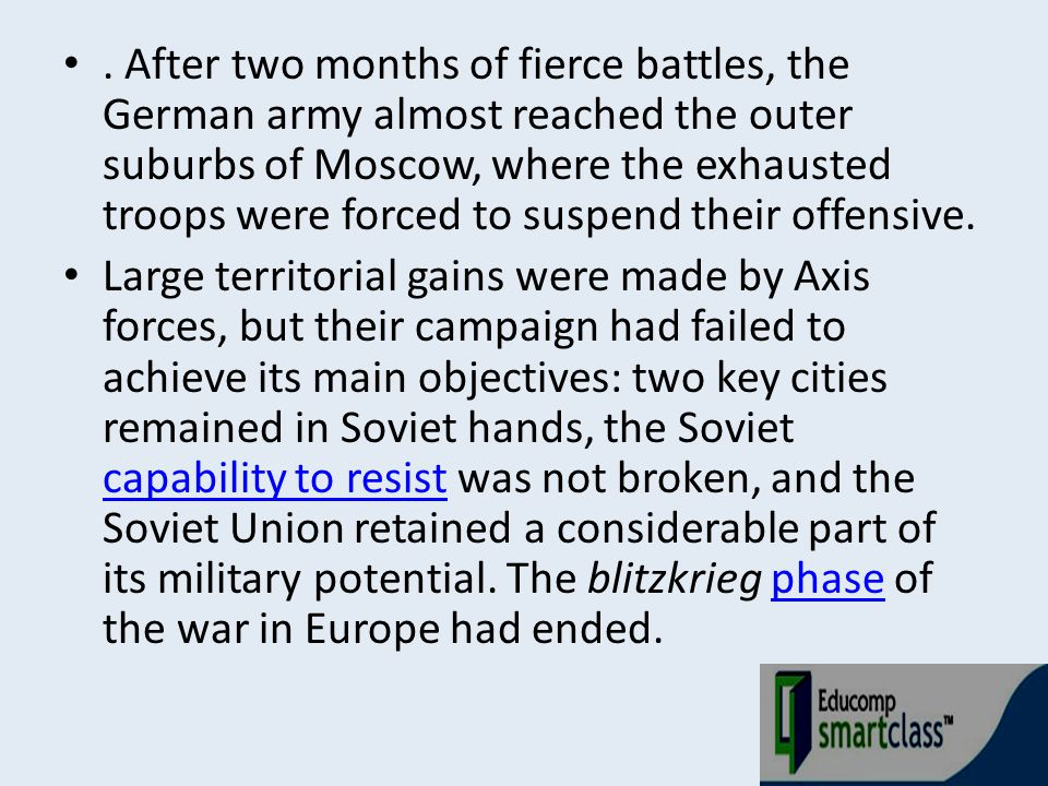 . After two months of fierce battles, the German army almost reached the outer suburbs of Moscow, where the exhausted troops were forced to suspend their offensive.