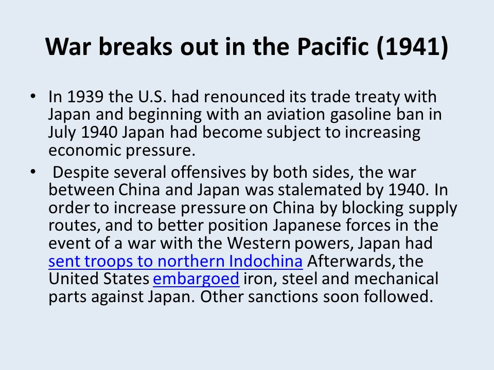 War breaks out in the Pacific (1941)