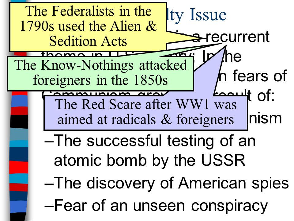 The Loyalty Issue The Federalists in the 1790s used the Alien & Sedition Acts.