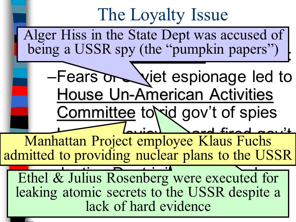 The Loyalty Issue Alger Hiss in the State Dept was accused of being a USSR spy (the pumpkin papers )