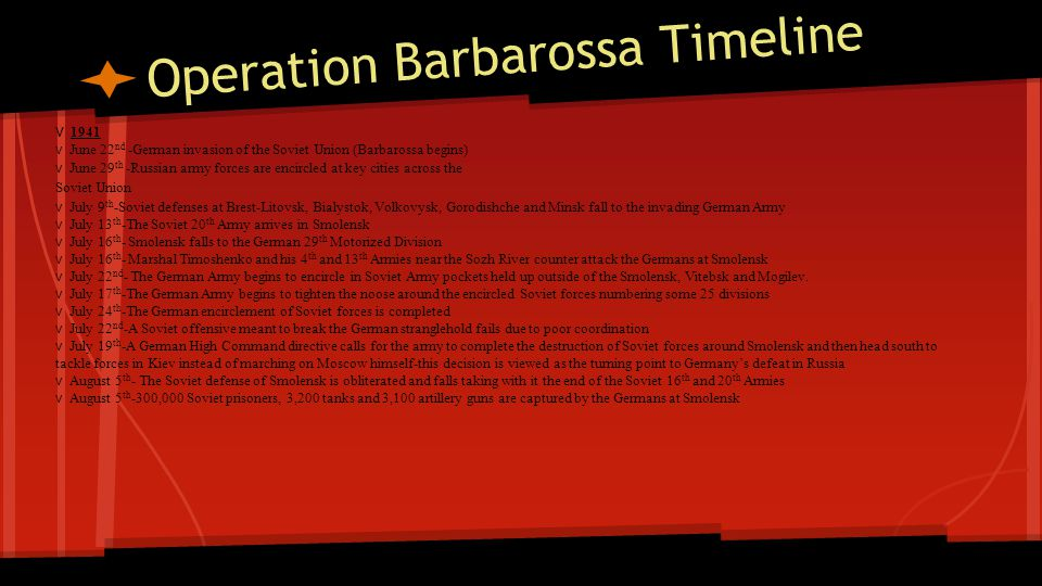 Operation Barbarossa Timeline