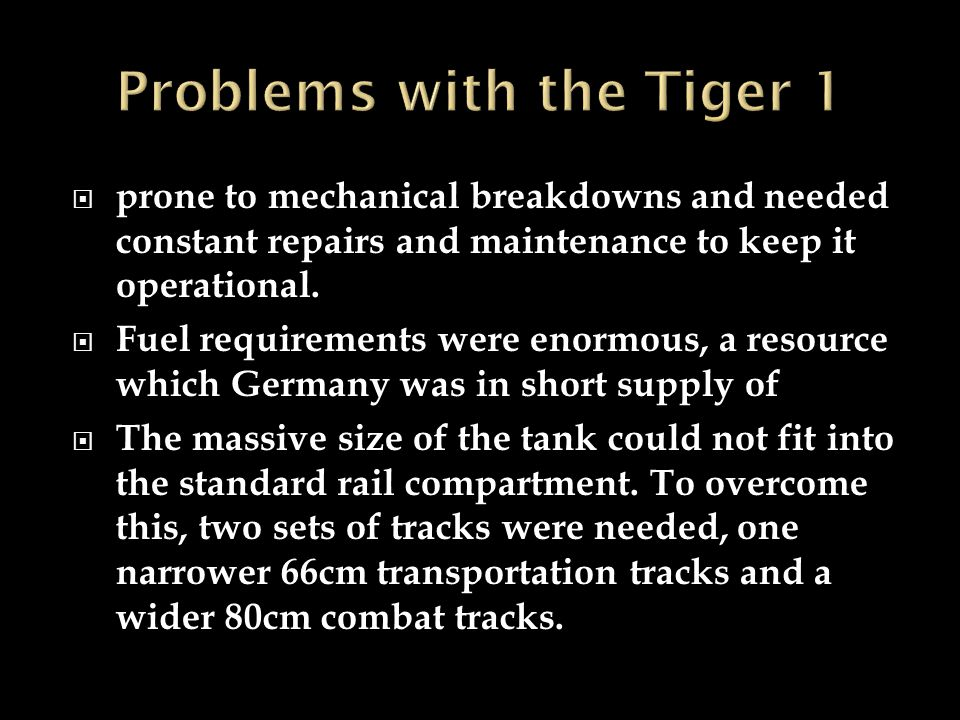 Problems with the Tiger 1