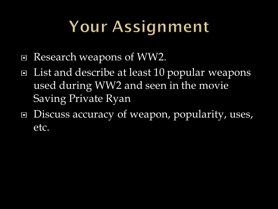 Your Assignment Research weapons of WW2.
