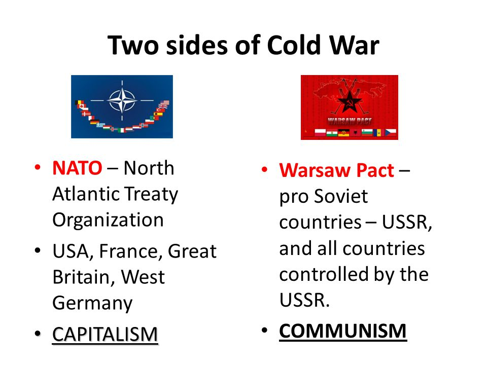 Two sides of Cold War NATO – North Atlantic Treaty Organization