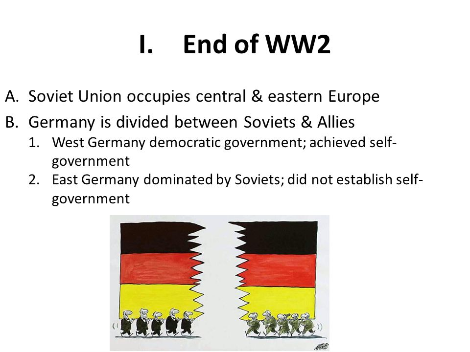 End of WW2 Soviet Union occupies central & eastern Europe