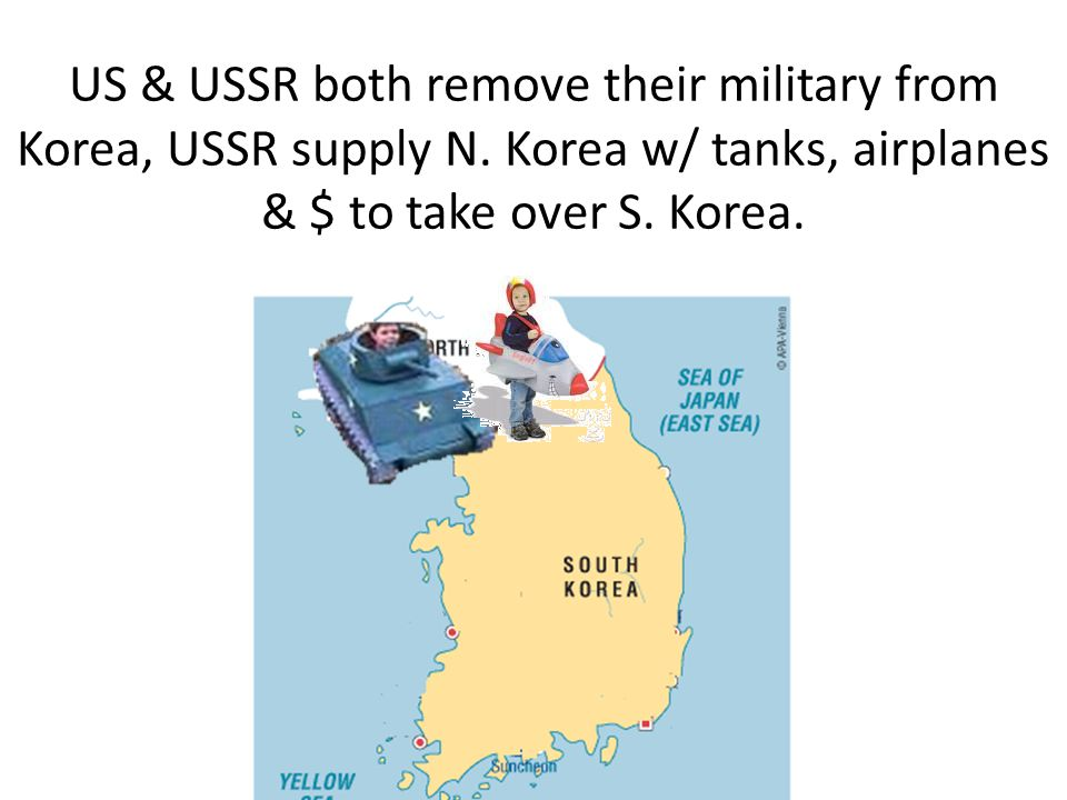 US & USSR both remove their military from Korea, USSR supply N