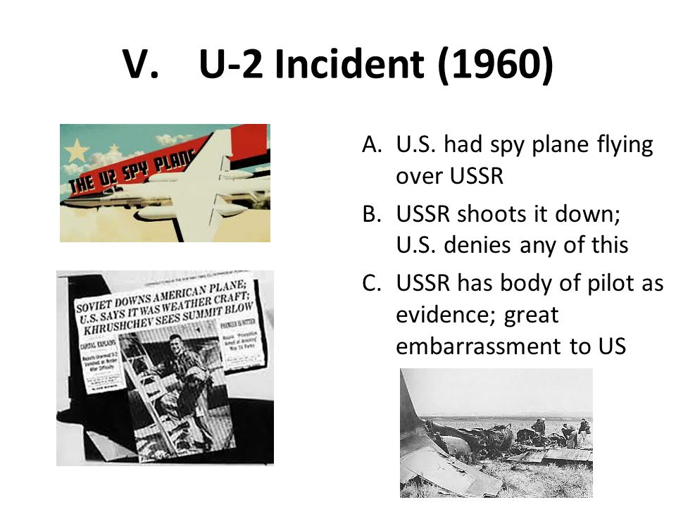 U-2 Incident (1960) U.S. had spy plane flying over USSR