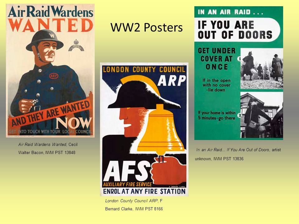 WW2 Posters Air Raid Wardens Wanted, Cecil Walter Bacon, IWM PST 13848