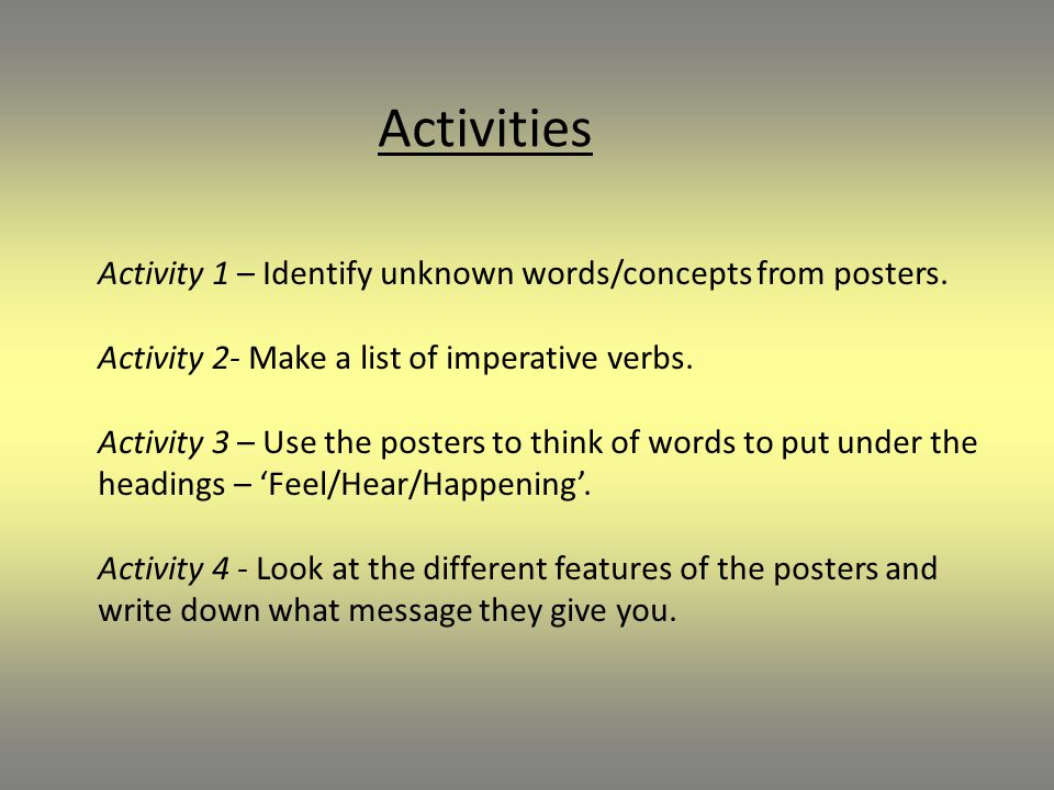 Activities Activity 1 – Identify unknown words/concepts from posters.