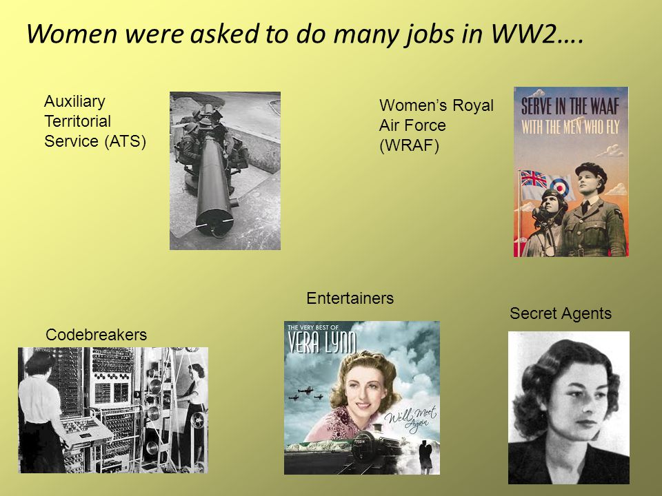Women were asked to do many jobs in WW2….