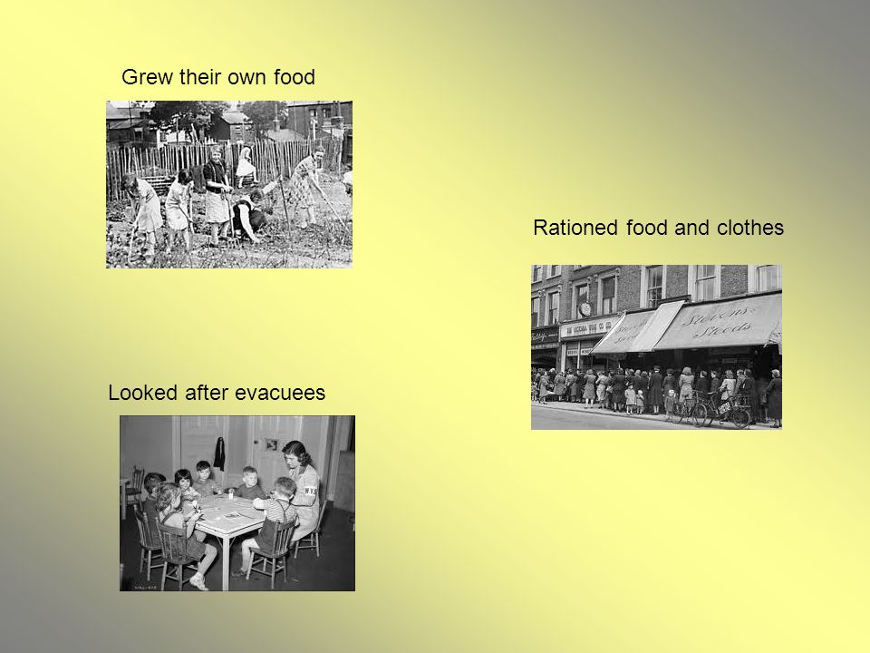 Grew their own food Rationed food and clothes Looked after evacuees