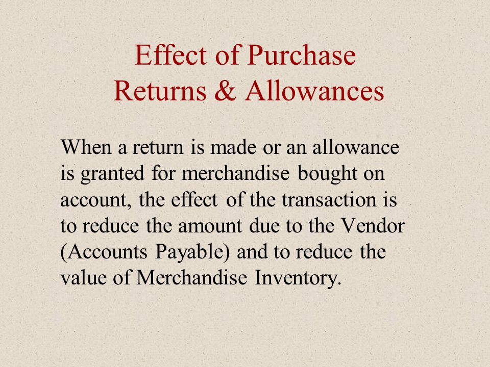 Effect of Purchase Returns & Allowances