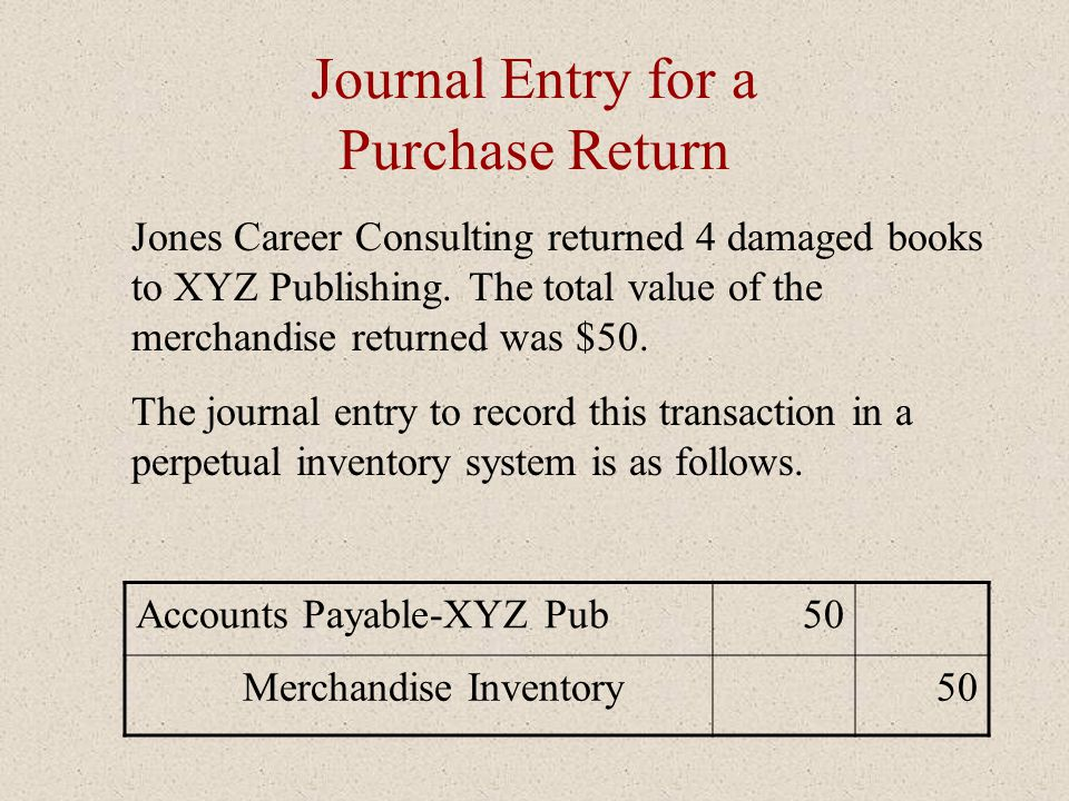 Journal Entry for a Purchase Return