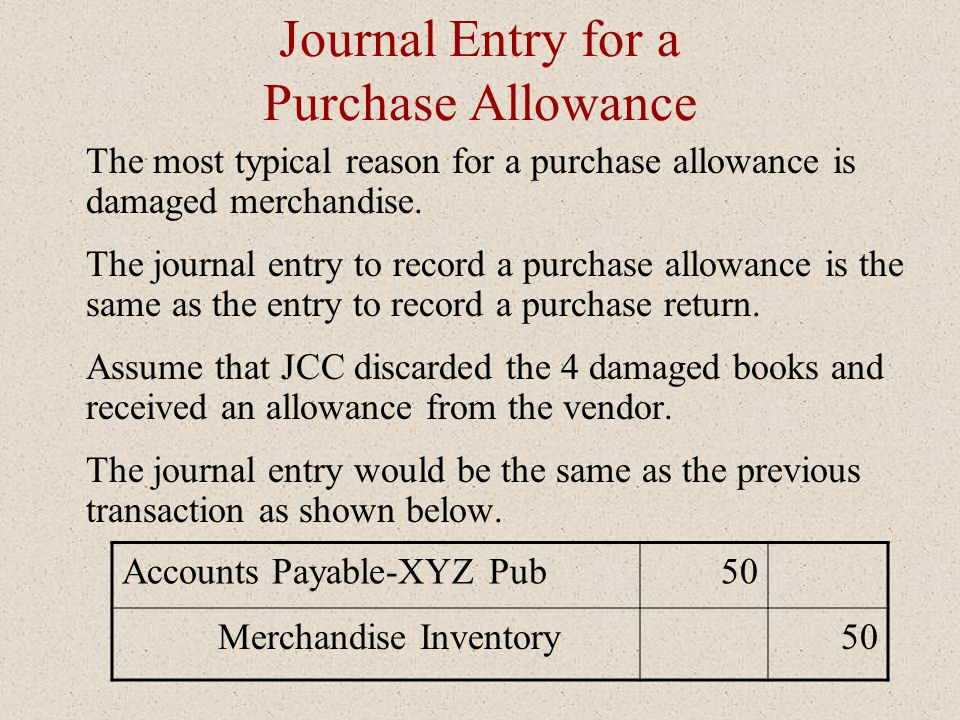 Journal Entry for a Purchase Allowance