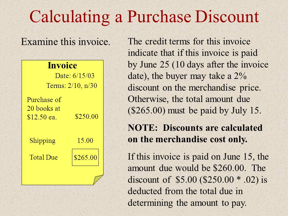 Calculating a Purchase Discount