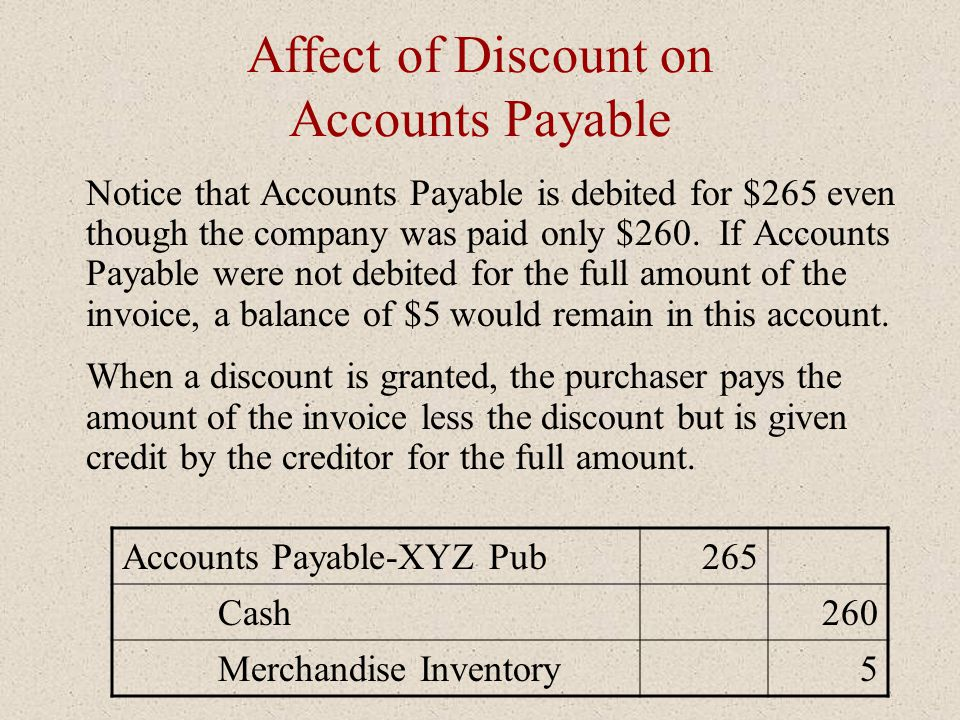 Affect of Discount on Accounts Payable