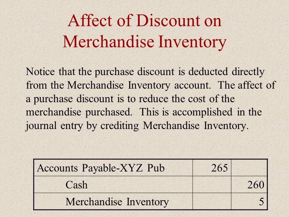 Affect of Discount on Merchandise Inventory