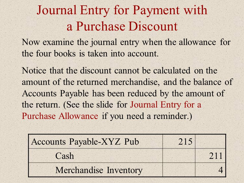 Journal Entry for Payment with a Purchase Discount