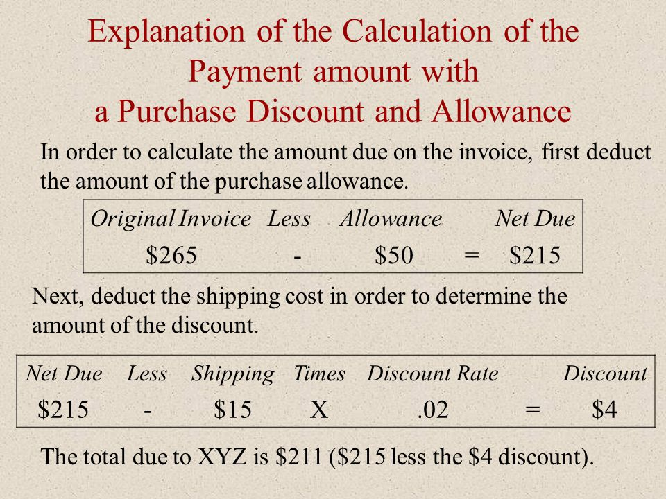 Explanation of the Calculation of the Payment amount with a Purchase Discount and Allowance