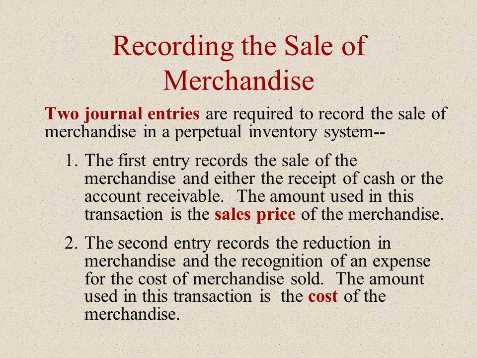 Recording the Sale of Merchandise