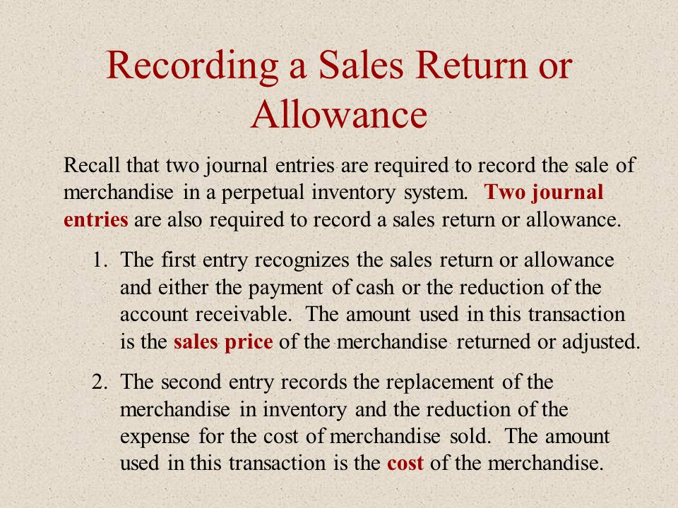 Recording a Sales Return or Allowance