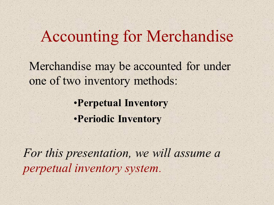 Accounting for Merchandise