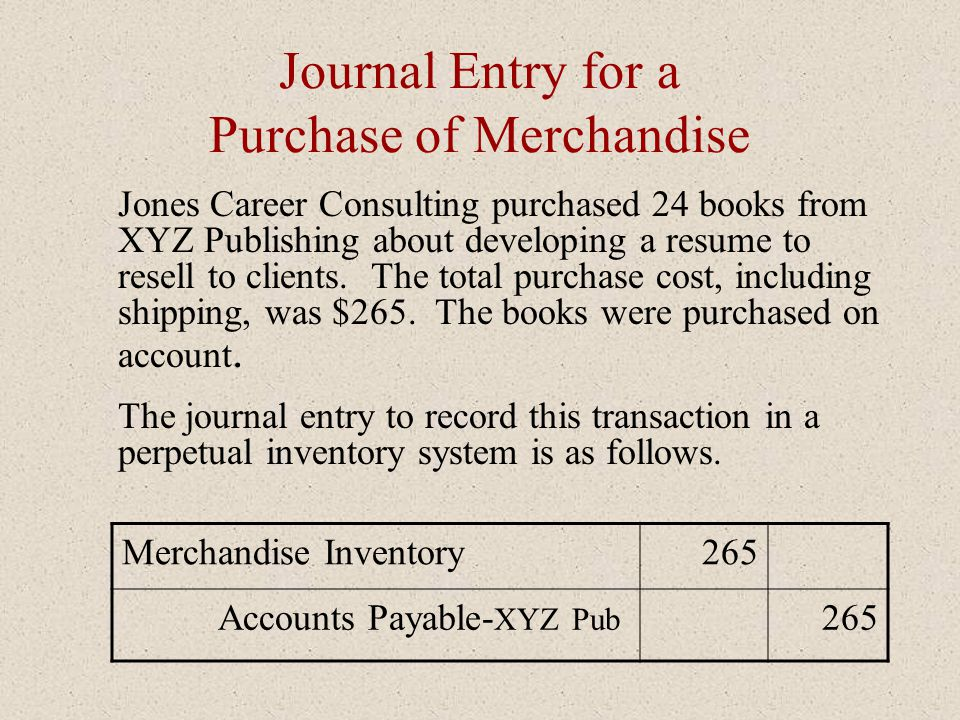 Journal Entry for a Purchase of Merchandise