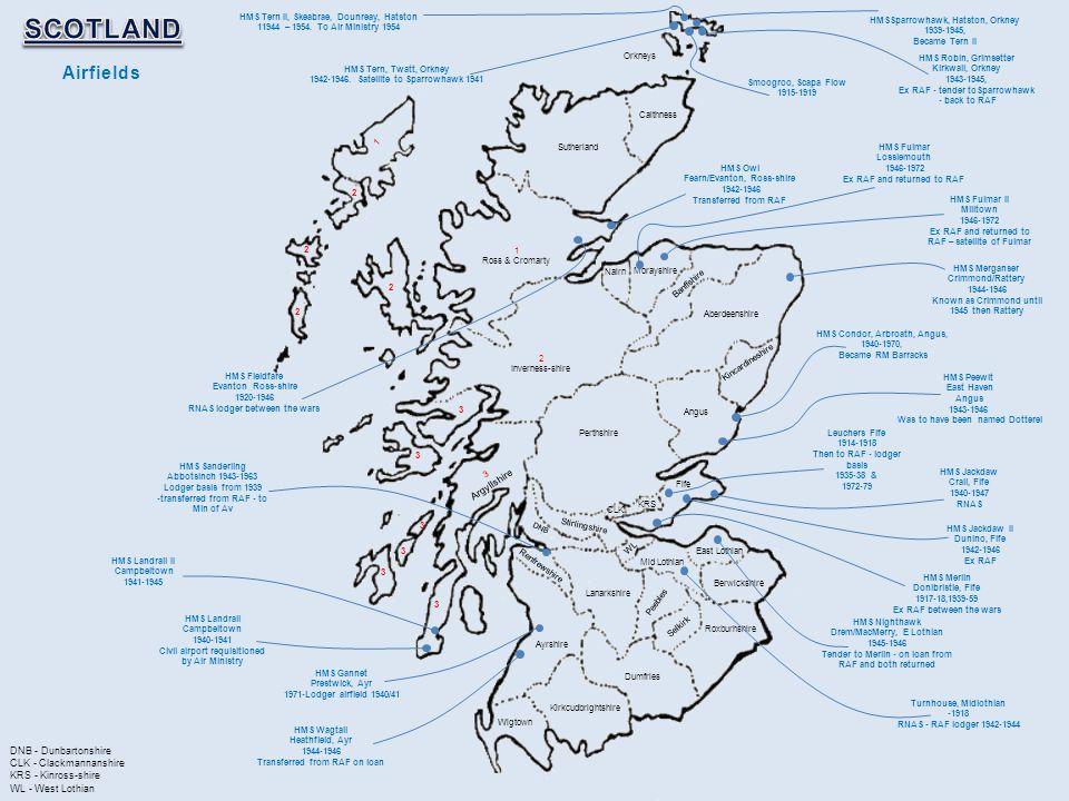 SCOTLAND Airfields Argyllshire DNB - Dunbartonshire