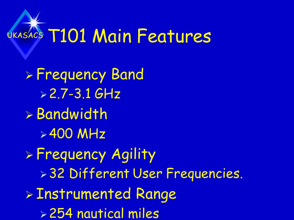 T101 Main Features Frequency Band Bandwidth Frequency Agility