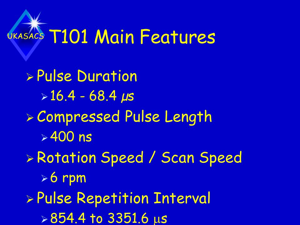 T101 Main Features Pulse Duration Compressed Pulse Length