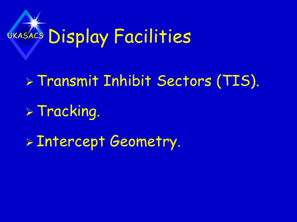 Display Facilities Transmit Inhibit Sectors (TIS). Tracking.