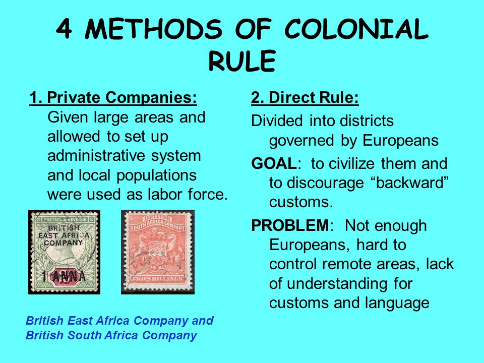 4 METHODS OF COLONIAL RULE