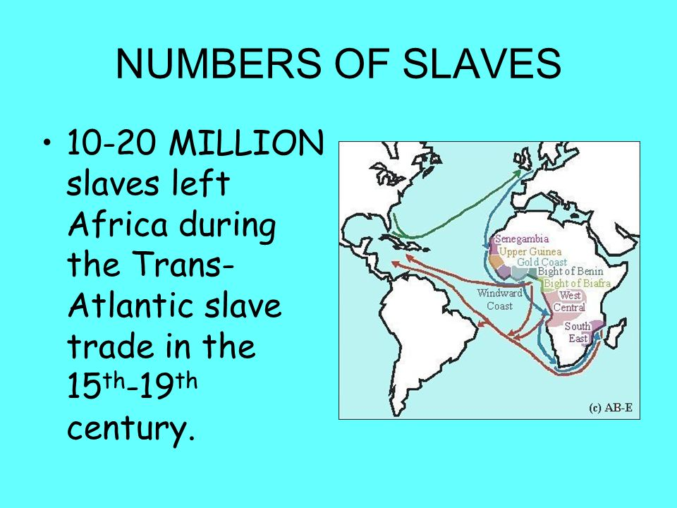 NUMBERS OF SLAVES 10-20 MILLION slaves left Africa during the Trans-Atlantic slave trade in the 15th-19th century.