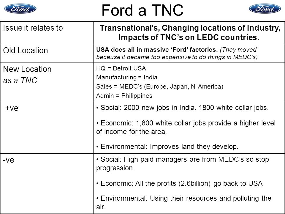 Ford a TNC Issue it relates to Old Location New Location as a TNC +ve